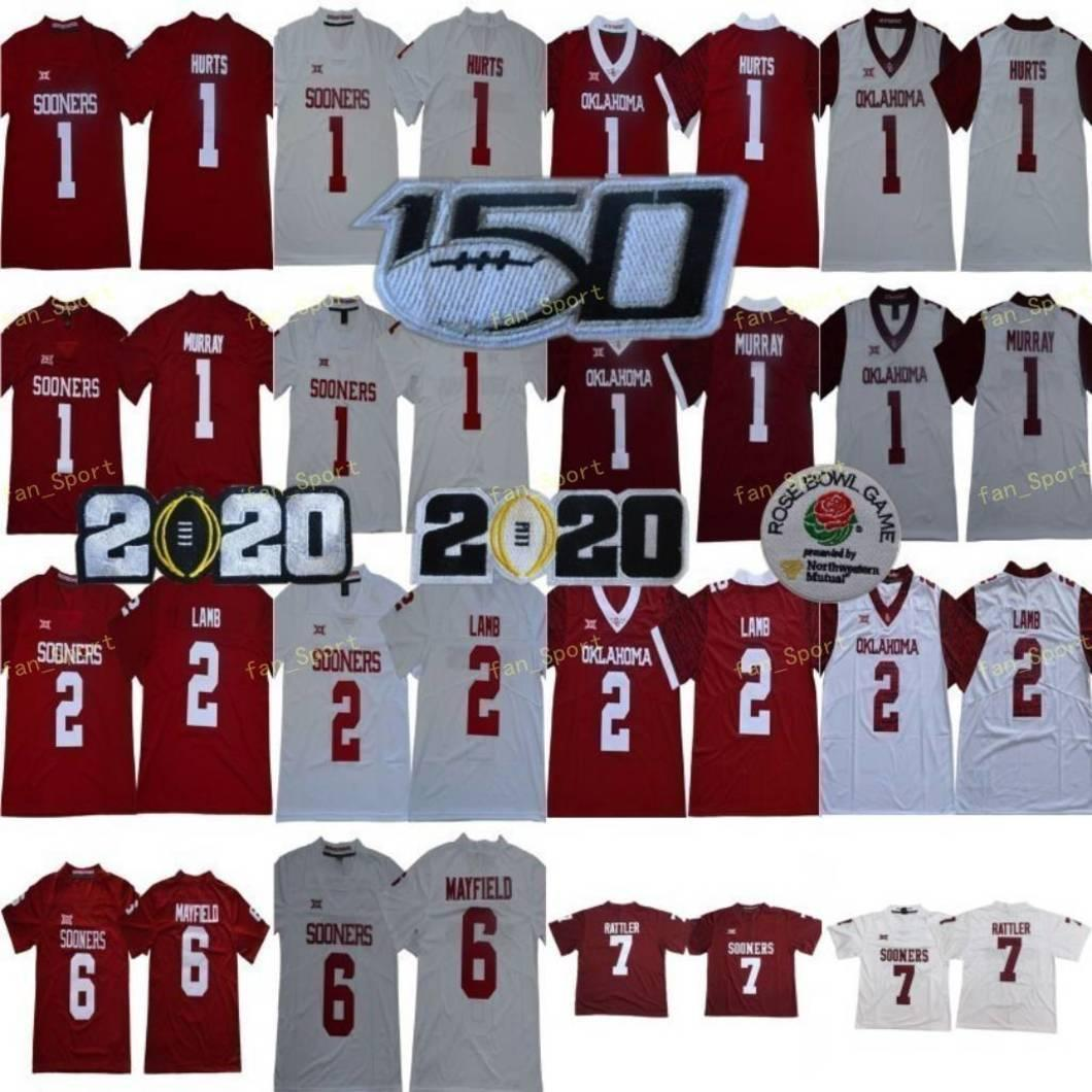 Ncaa Oklahoma FOOERS 7 Spencer Rattler College 2 Ceedee Lamb 1 Kyler Murray 6 Baker Mayfield 1 Jalen 아파요 남성 2020 Peach Bowl 150th Football Jerseys