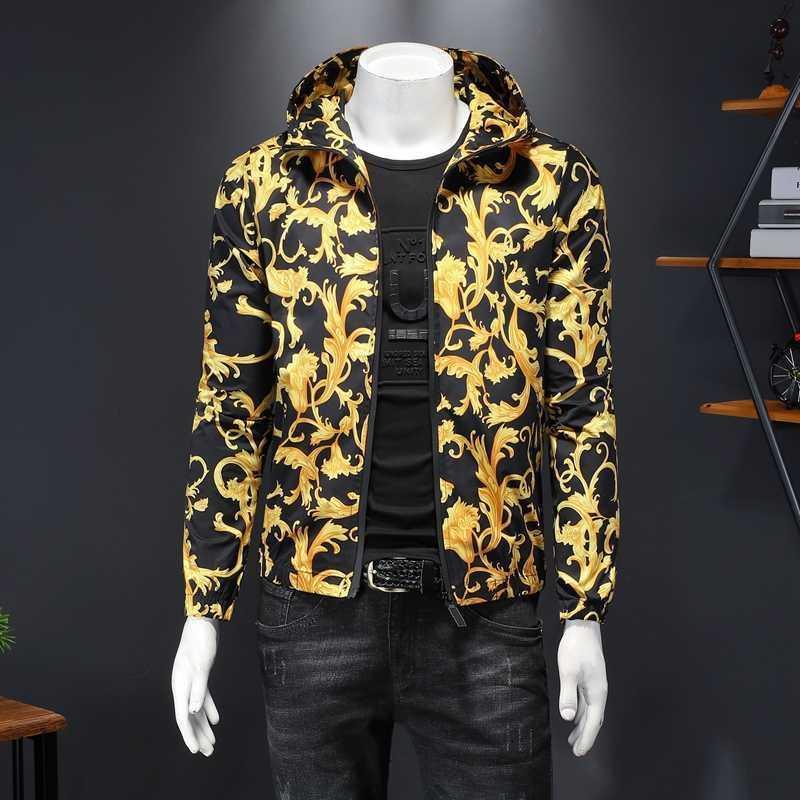 Luxo Impressão de ouro Homens Casaco Baroque Bomber Jaquetas Zipper Casacos Casual Jaqueta Com Capuz Outerwear Jaqueta Masculina 210527