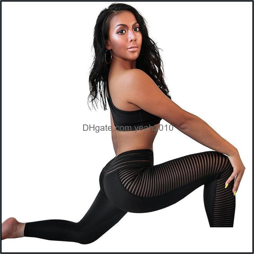 Outfits Athletic Outdoor Apparel Sports & Outdoorsmesh Stitching Women Yoga Outfit Running Exercise Wear Fitness Gym Set Sportswears Outdoor