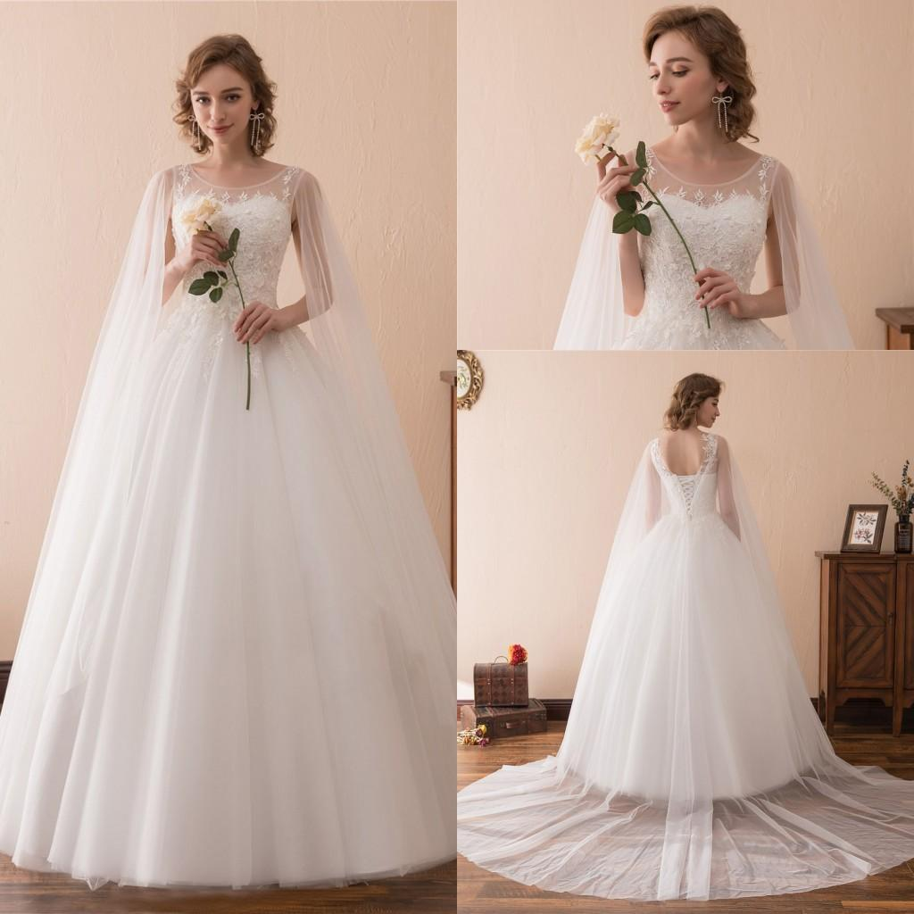 Charming Lace Wedding Dresses Beach Bridal Gowns Appliqued With Sheer Shoulder Yarn Fashion Elegant