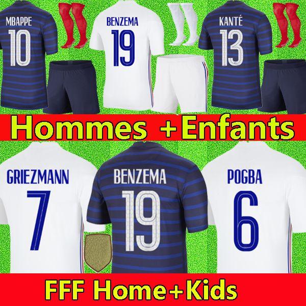 EURO Cup 2020 2021 France Frankreich Fußballtrikot BENZEMA MBAPPE GRIEZMANN POGBA KANTE 20 21 Maillot de foot Männer Frauen + Kinder Trikot Fußballtrikots