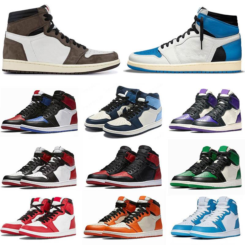 Nike Air Jordan 1 Basketball Shoes 최고 품질의 jumpman 1 1s 높은 농구 신발 Travis 두려움없는 흑요약 Unc Mens 여성이 금지 된 자란 발가락 시카고 남자 스포츠 신발 유로 36-46