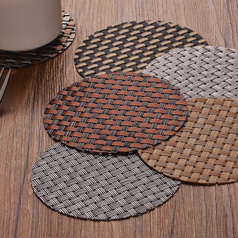 ПВХ круглые тканые коврики кафе кухня нескользятная антиказионная изоляционная какастера оптом