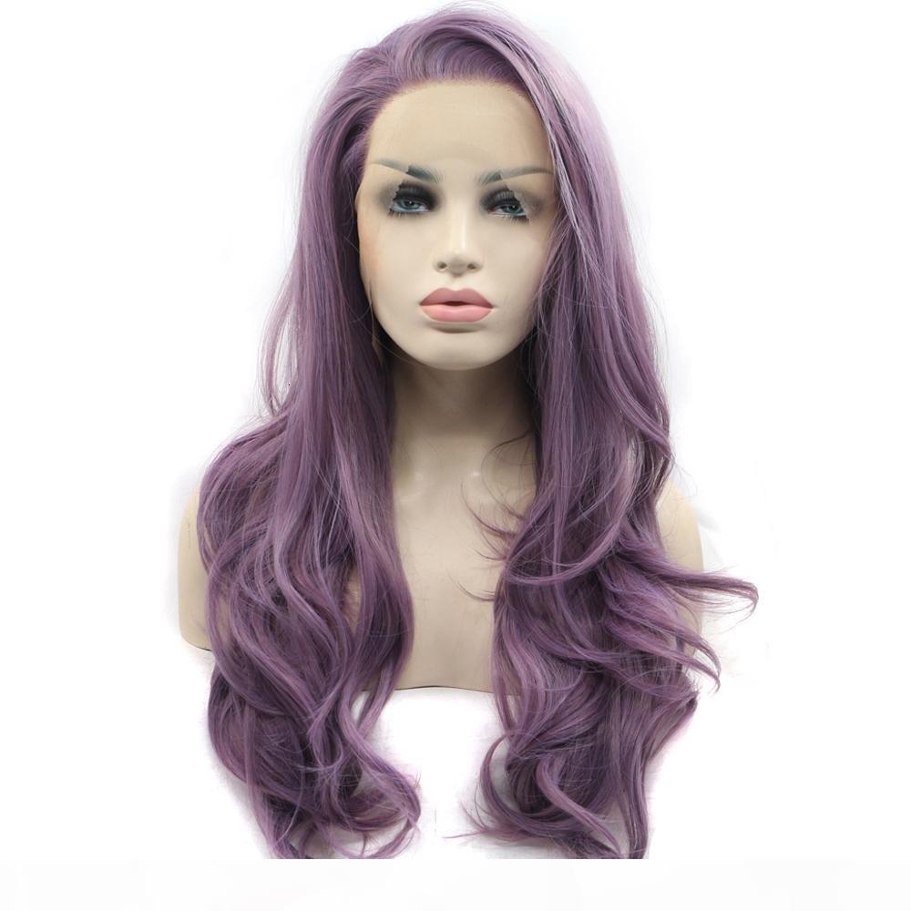 مثير غلويليس ارتفاع درجة حرارة الألياف شعري الشعر الطبيعي الباروكات الشعر الناعمة السويسري الأرجواني طويل متموج الاصطناعية الدانتيل الجبهة الباروكة للنساء 180٪ الكثافة