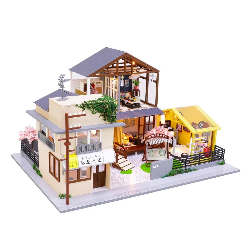 3D DIY Doll House Miniatura de madera Muebles hechos a mano Modelo Modelo Modelo Building Juguetes Casa de muñecas para niños Regalos de cumpleaños PC902