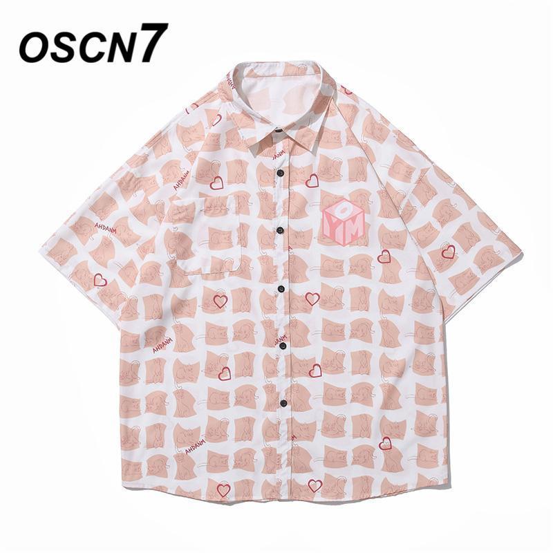 캐주얼 인쇄 짧은 소매 셔츠 남성 거리 2021 하와이 비치 대형 여성 패션 하루주쿠 셔츠 9225 남자