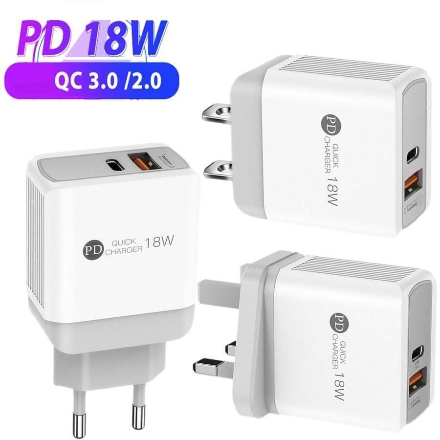 18W نوع PD C شاحن QC3.0 3A USB-C Quick Eu الولايات المتحدة شاحنات الحائط لآيفون 11 XS ماكس سامسونج Xiaomi