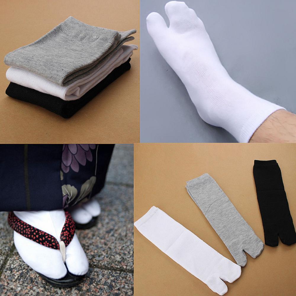 Japanese Kimono Flip Flop Sandal Split Toe Tabi Ninja Geta Socks Men Women Split 2 Toe Tabi Foot Finger Cotton Socks