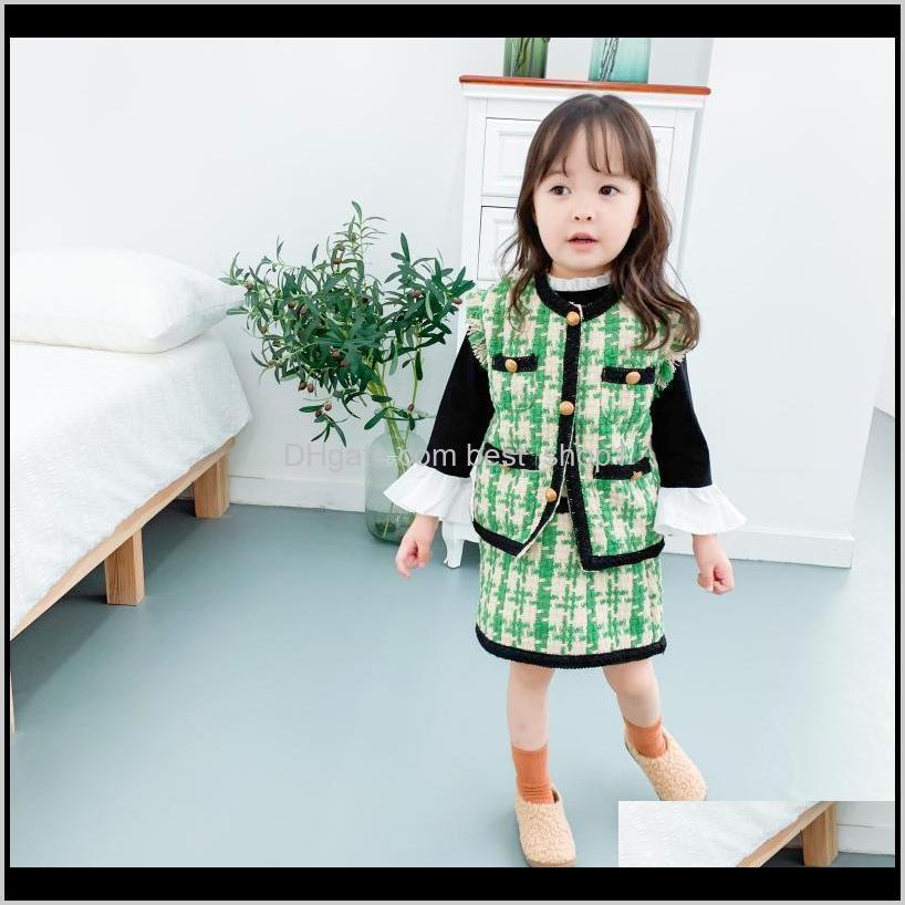 مجموعات iss طفل الفتيات أكمام بدلة شوكية تنورة مجموعة مصممين أطفال معطف منقوشة سترة وفساتين الطفل الصيف الأزياء الملابس الدكتور yu2oi