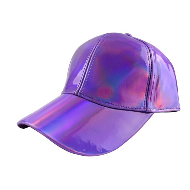 캐주얼 야구 모자 커플 패션 PU 가죽 멀티 컬러베이스 볼 캡 특허 솔리드 컬러 무지개 밝은 다채로운 유럽 및 미국 디자이너 모자 위에