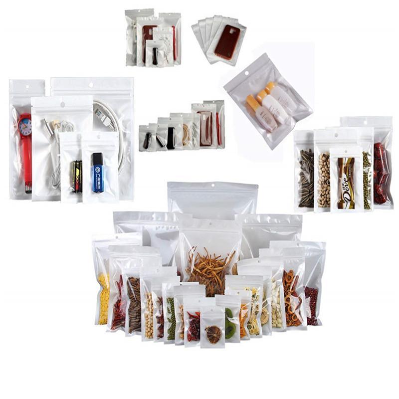 100 pçs / lote auto veda saco zipper sacos de embalagem de embalagem de alimento bolsa de armazenamento de cabo de dados com buraco de pendurar