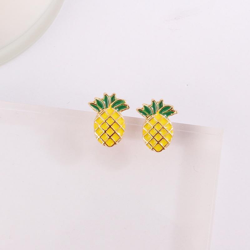 Moda Sözleşmeli Ananas Saplama Küpe Meyve Serisi Takı Aksesuarları
