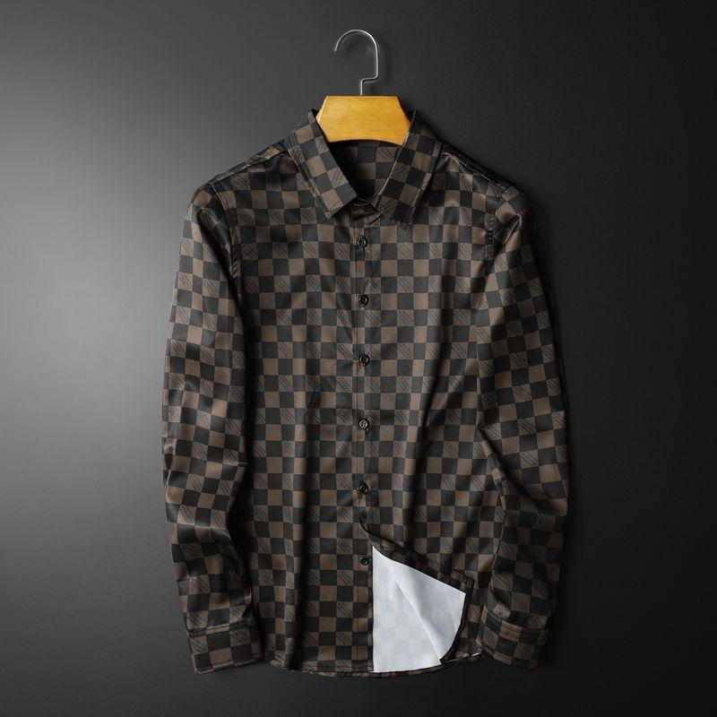 봄 긴 소매 셔츠 대형 남성 커피 컬러 스트리트웨어 Camisa 사회 masculina 격자 무늬 셔츠 남성 남자 드레스 캐주얼