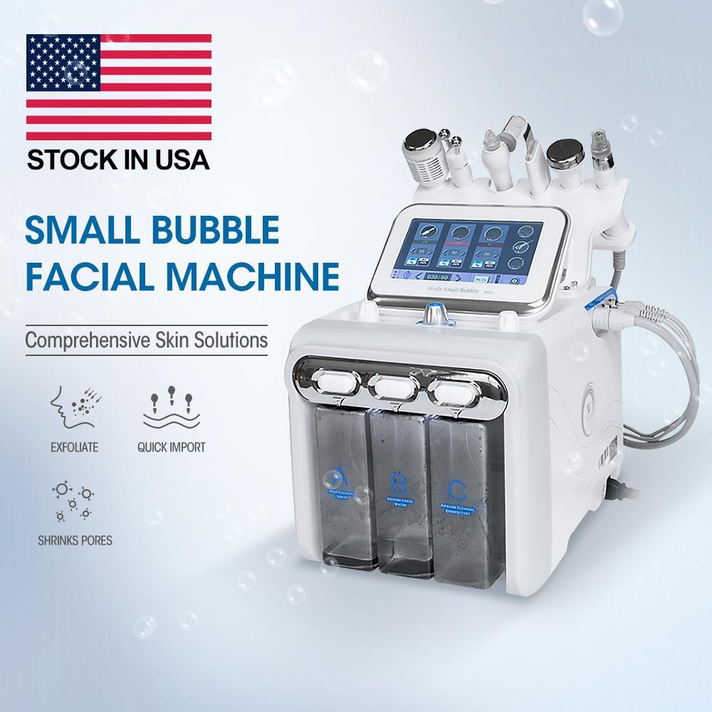 6 in 1 Mikrodermabrazyon Hidro Dermabrazyon Hydra Yüz Makinası RF Cilt Rejuvenaiton Bio-Kaldırma Kırışıklık Temizleme Hidrakasiyal Spa Ekipmanları ABD stoğu !!!