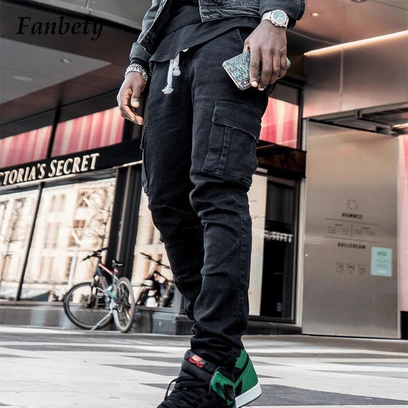 Herren Jeans 2021 Herbst Herbst Herbst Hip-Hop Stil Feste Männer Casual Side Taschen Jeans Fracht Hosen Mode Slim Fit Hose Streetwear
