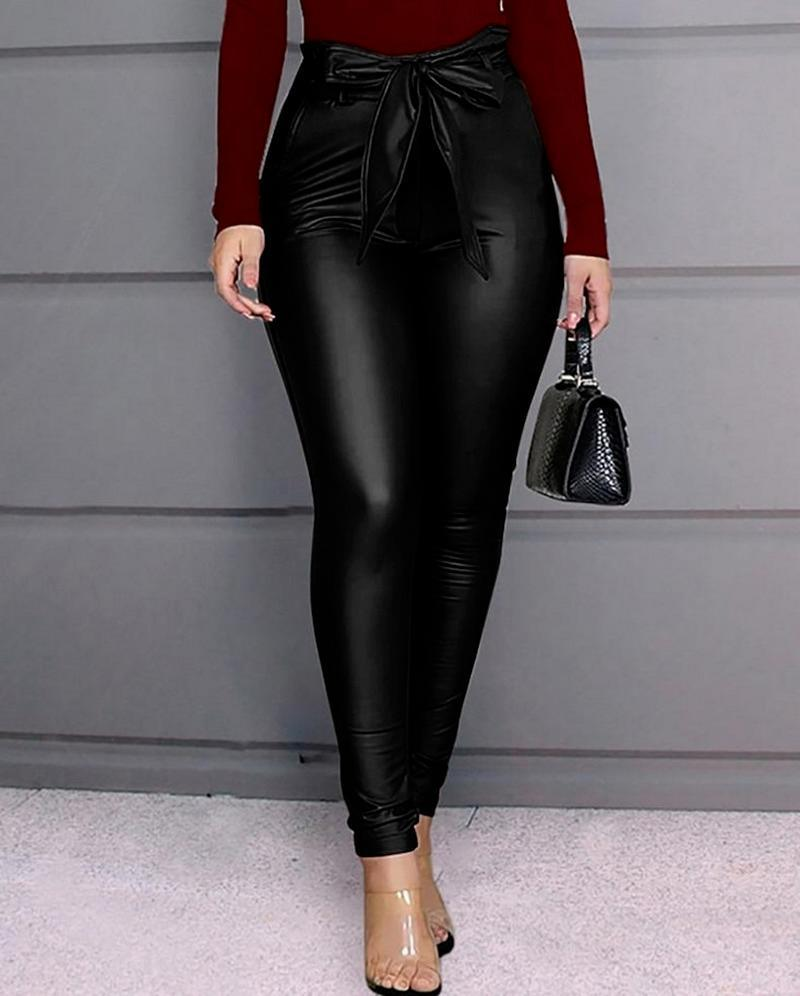 Women's Leggings PU Leather Bow Pants High Waisted Stretchy Skinny Pencil Trousers Office Lady Elegant Pant