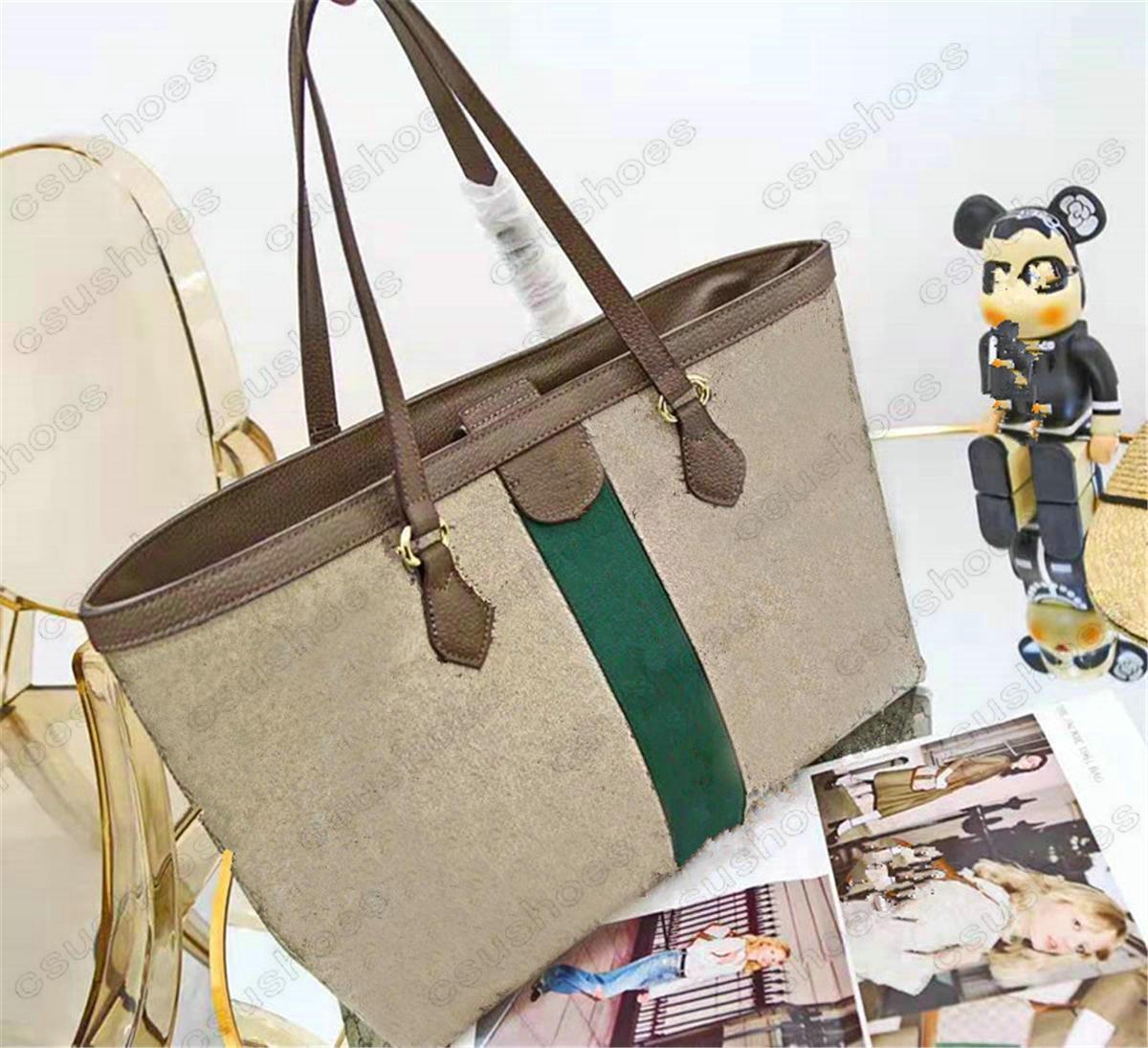 Medium Ophidia Tote Beige Leinwand Leder Vintage Umhängetasche Italien Marke Grüne und rote Streifen Damen Designer Handtasche