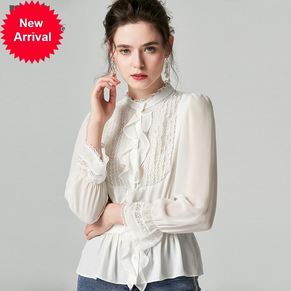 Ladies Sweet Blusas 2019 Otoño Peplum Cintura delgada Pliegues Capas de dobladillo de encaje Ruffles Patchwork Sólido blanco Tops negros