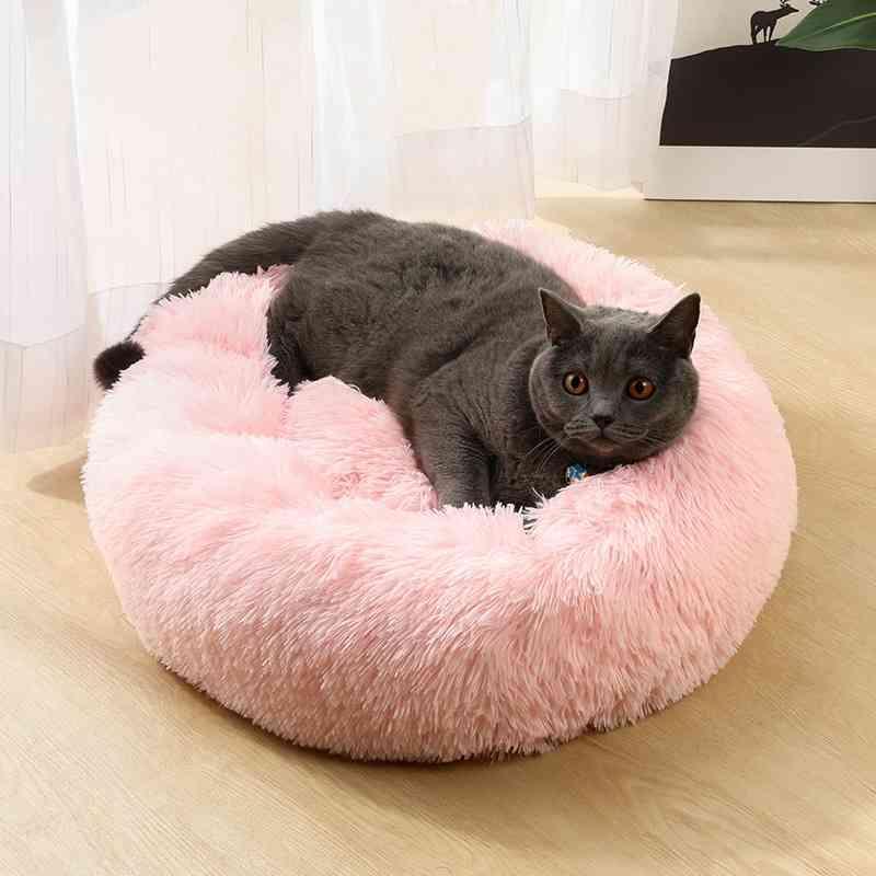 الفاخرة طويلة أفخم النيوك الكلب السرير سلة مهدئ السرير بيت الكلب القط القط الكلب شاغ الأثبية الفراء دونات كديل القط الكلب السرير الحفاظ على الدفء 210401