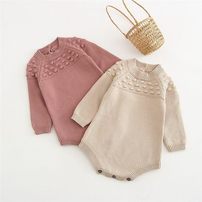 아기 옷 니트 스웨터 가을 아기 소녀 겨울 겨울 신생아 소년 Jumpsuit 긴 소매 면화 유아 재생 바지