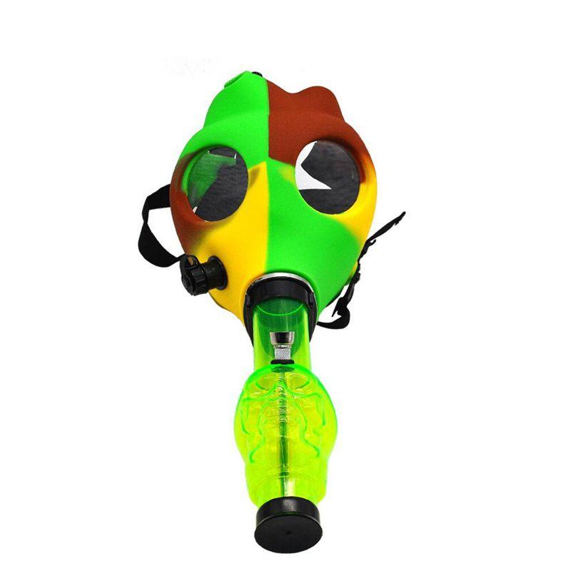 FDA-Silikon-Gasmasken Wasser-Bong-Tabak-Hukahn Shisha-Rohr farbige Wasserleitung Silikon-Masken Acryl-Bong-FDA-Silikon-Gasmasken Wasser B