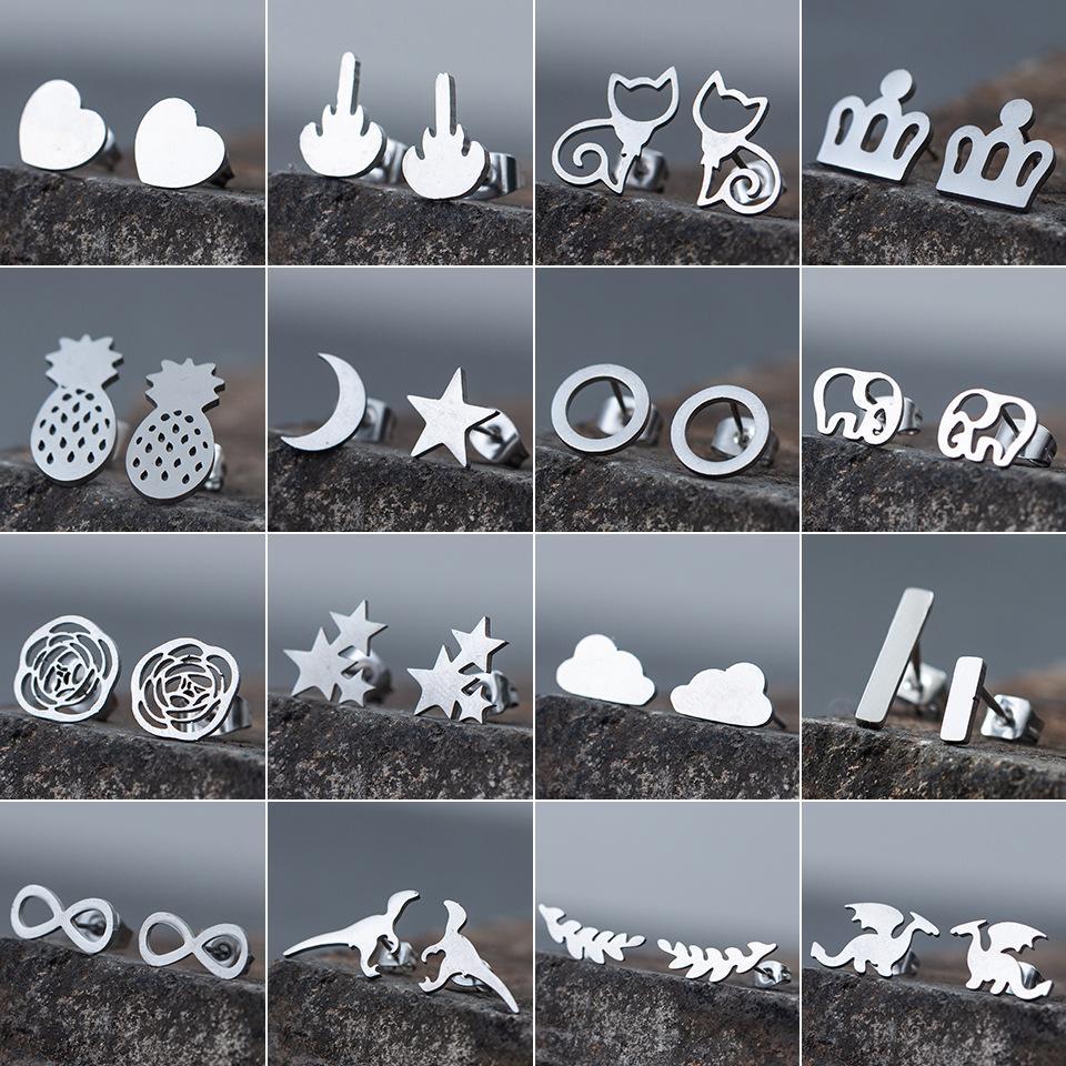 النساء الفتيات الأزياء أقراط زركونيا مصمم الفولاذ المقاوم للصدأ القلب دائرة بار القرط مجوهرات هدية عيد الحب