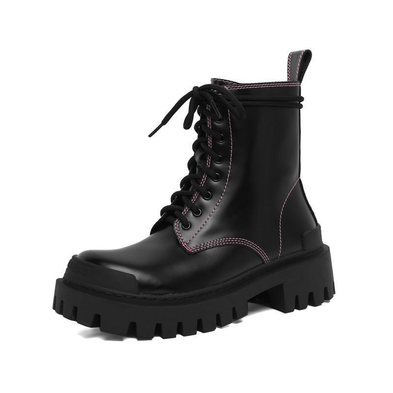 Kalın Alt Kare Topuk Ayakkabı Ile Asumer Gelenler Moda Hakiki Deri Çizme