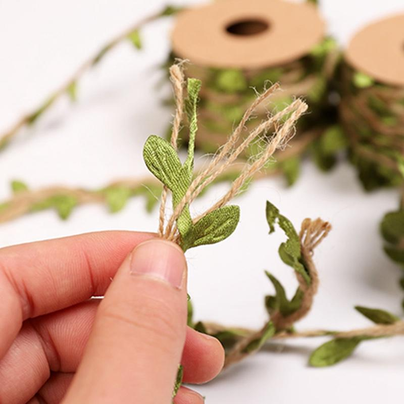 أوراق الطوق الجوت الطبيعي الخبز ورقة الشريط القنب حبل الجدار شنقا نباتات كرمة اصطناعية الزفاف الزخرفية الزخرفية ccf6335