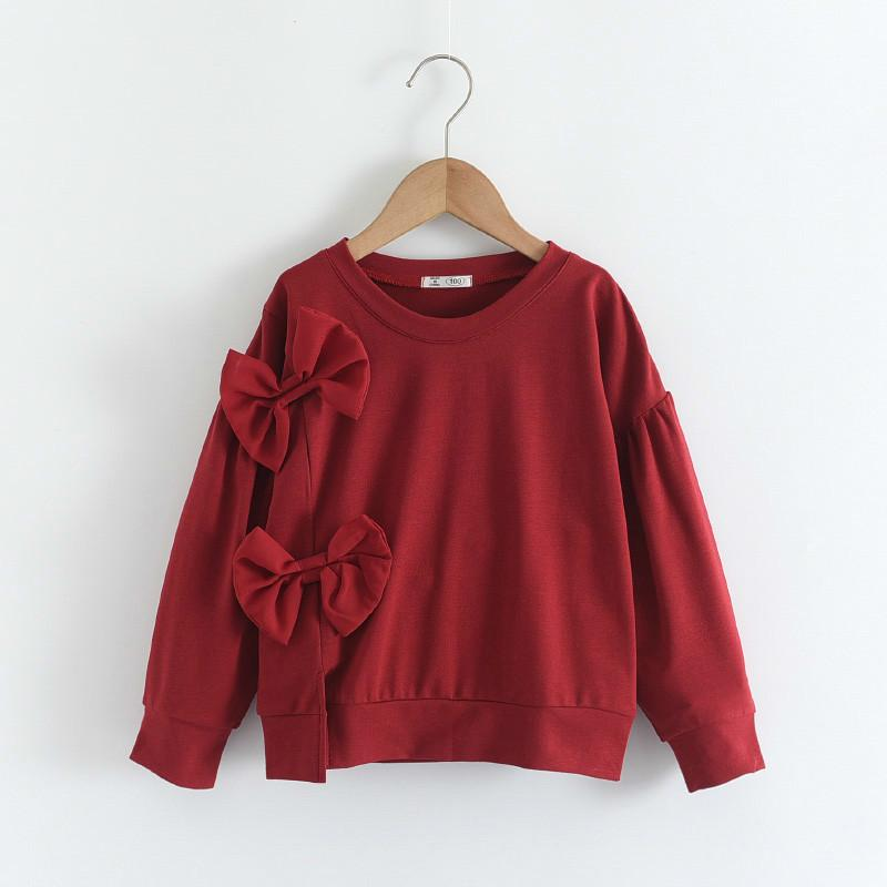 Melario Girls Sweatshirt Tops Children T Shirt Blouses Cotton Bebe Hoodies Cute Bow Kids Baby Girl Clothes Tee 2 6 Years 210412