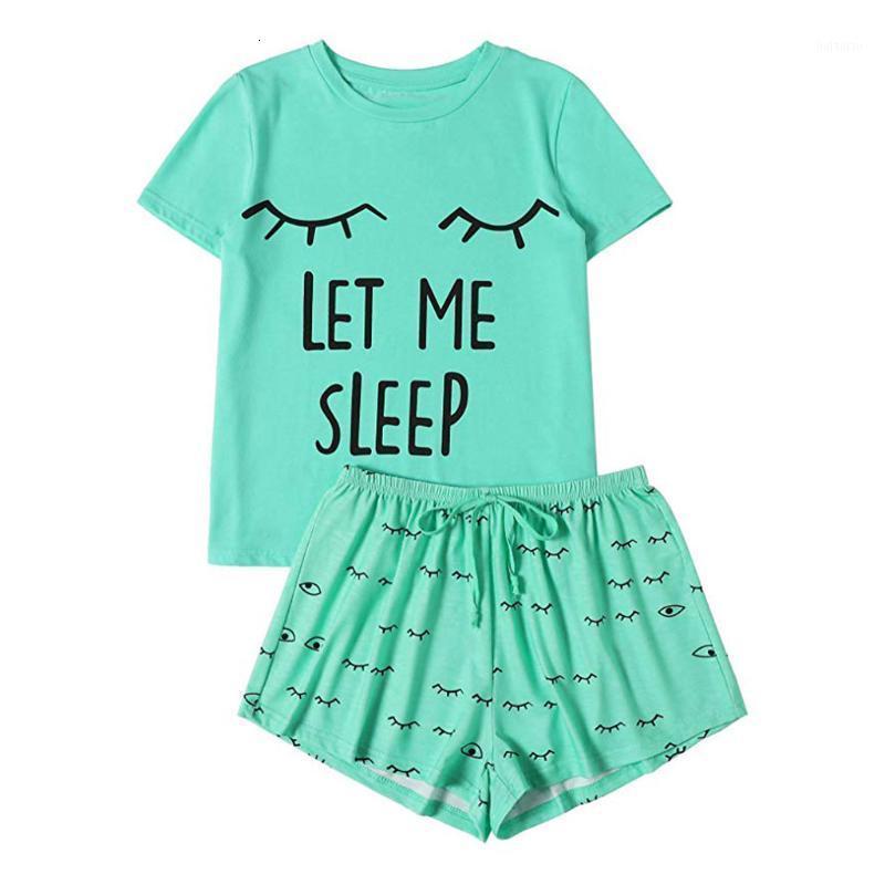 Два куска платье 2 частей набор трексуита женщины с коротким рукавом топ и шорты повседневная толстовка двух шт спортивная футболка футболка ночная одежда набор ночной одежды # 6141