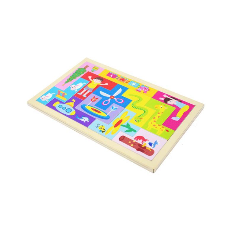 Colore creativo in legno Rainbow Tetris Jigsaw Toys Assemblaggio Puzzle Color Set Bambini Giocattoli educativi