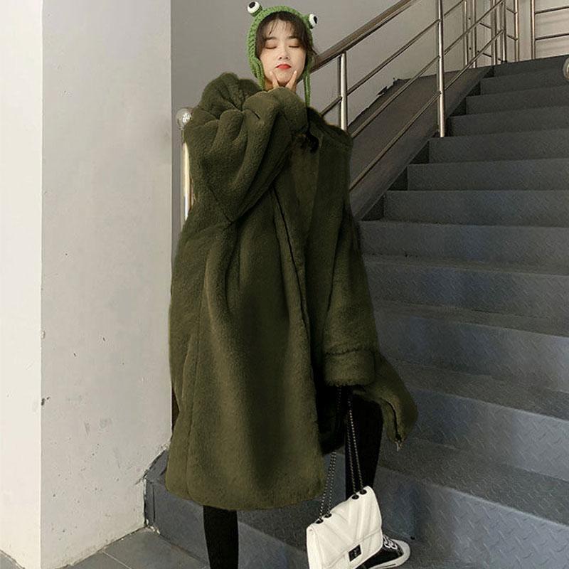 Chaquetas de gran tamaño con capucha de invierno Abrigo de piel larga Mujer Parka lujosa chaqueta de imitación cálida abrigos sueltos -20 grados de mujer