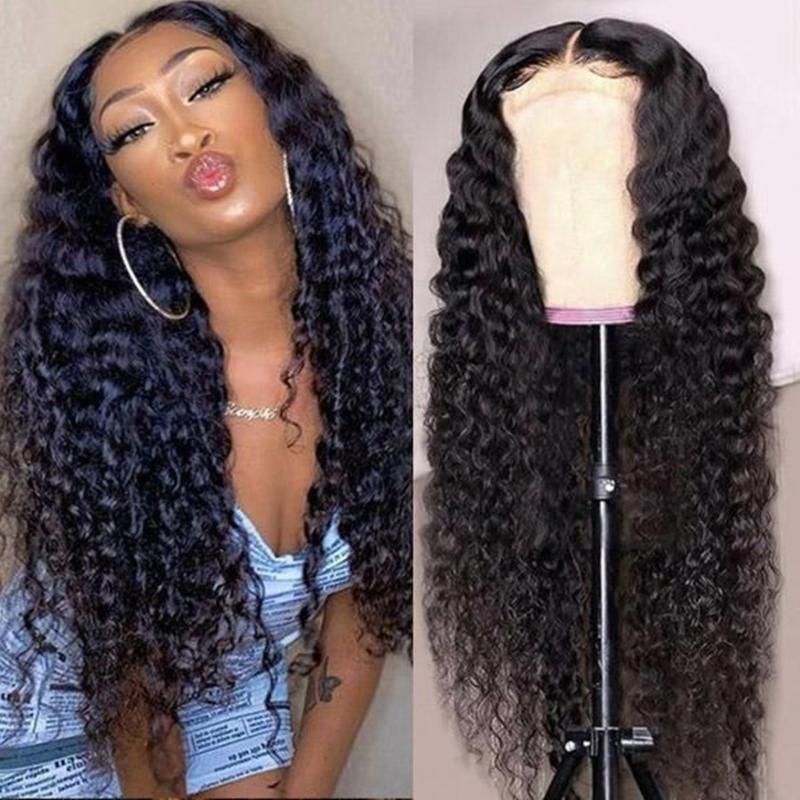Lace Wigs Est 250% 30'Deep Wave Transparent For Black Women T Part Curly Human Hair Wig Brazilian Remy