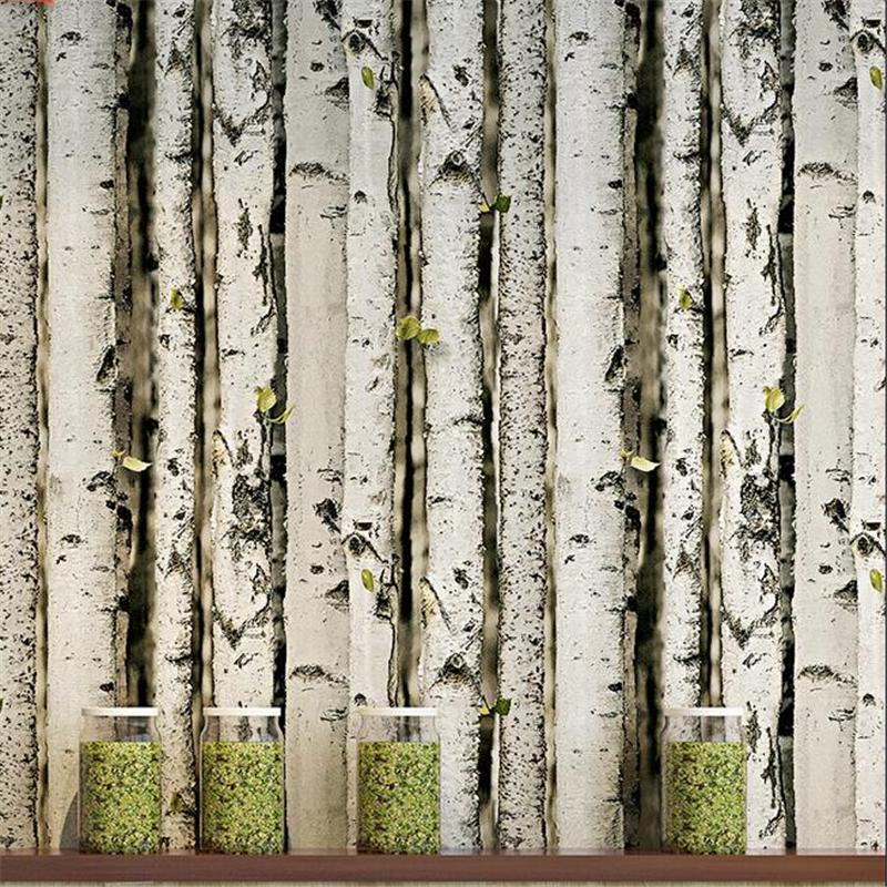 Wallpapers Wellyu 3D Three-dimensional Birch Forest Bark Tree Pattern Wallpaper Personality Coffee Restaurant Retro Nostalgic