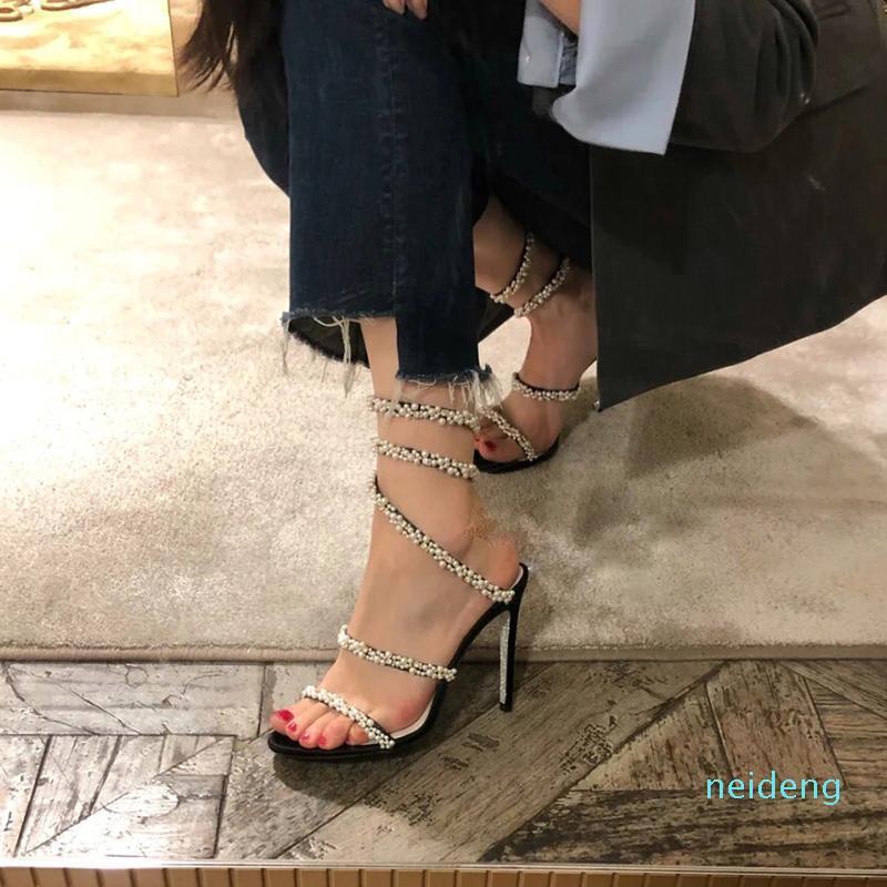 2021 Diseñador de moda Sandalias de tacón alto Toboganes de cuero genuino Sole Stiletto Heel Tacón Gladiador Zapatos de mujer Partido Banda estrecha Super2021