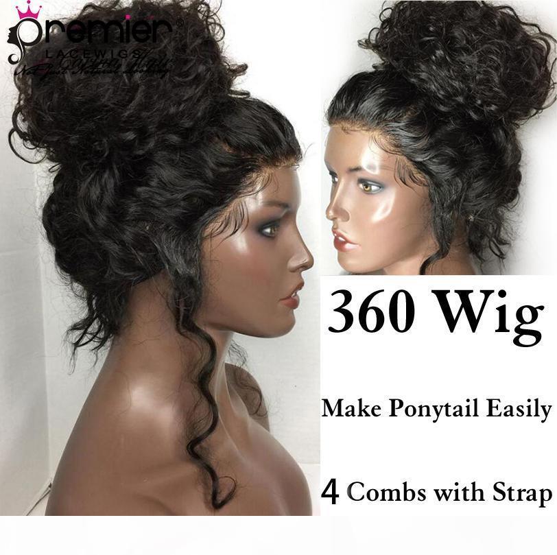 Pelucas de encaje Premier 360 pelucas frontales de encaje Indian Remy Hair Body Wave Pre-arrancado Nudos blanqueados 150% Densidad Pelucas de encaje humano