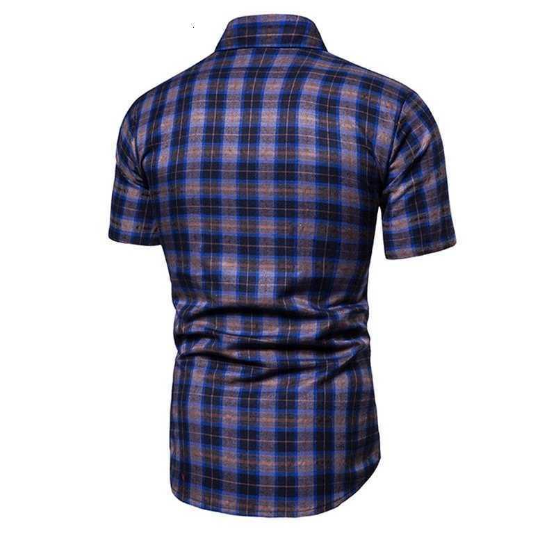 Erkek Casual Gömlek Tek Göğüslü Gömlek Kısa Kollu Yaka Yaka Erkek Yaz Tasarımcı Ekose Moda Doğal RGRB Shrits