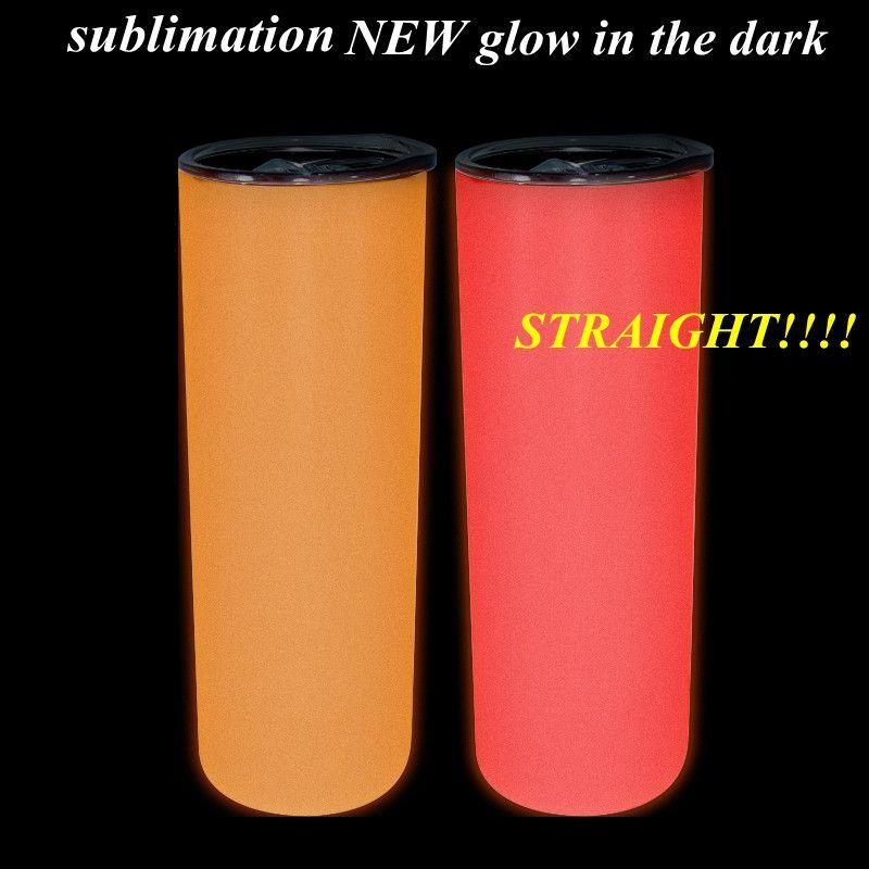 Sublimación 20 oz resplandor en el vaso oscuro Nuevo color Tumblers rectos con pintura luminosa Copa flaca mágica luminiscente