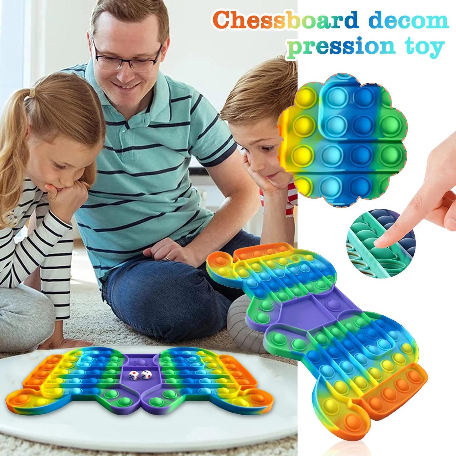 Jeu de grande taille Fidget Jouet Rainbow Chess Push Bubble Fidget Sensory jouets pour le jeu interactif du temps parent-enfant DHL 2021 Dernier