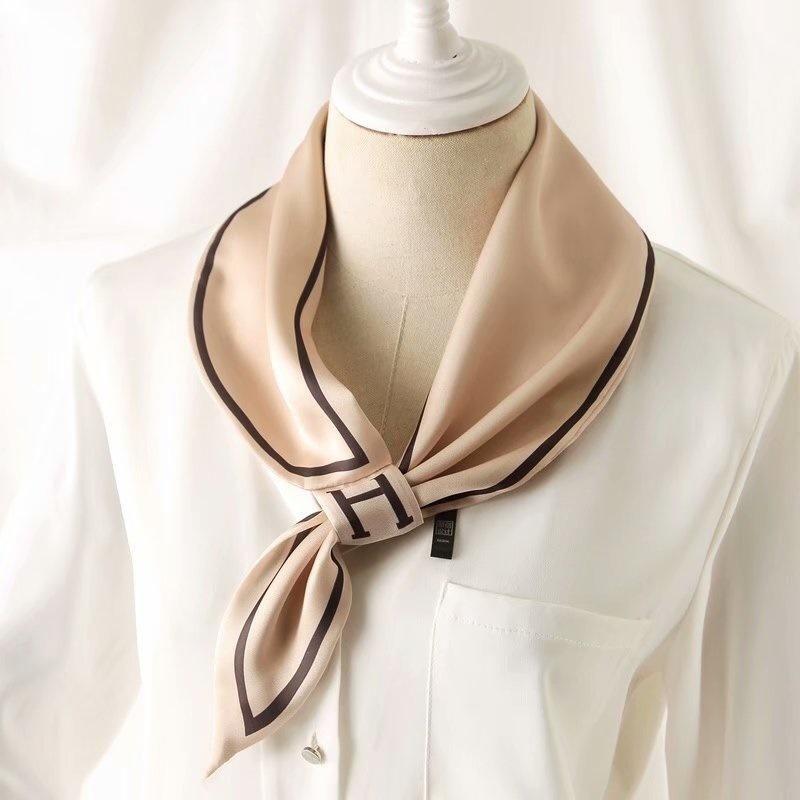 Шарфы маленький шелковый галстук повязки h стильная сумка ленты галстука женщин повседневная мода офис леди худой шарф