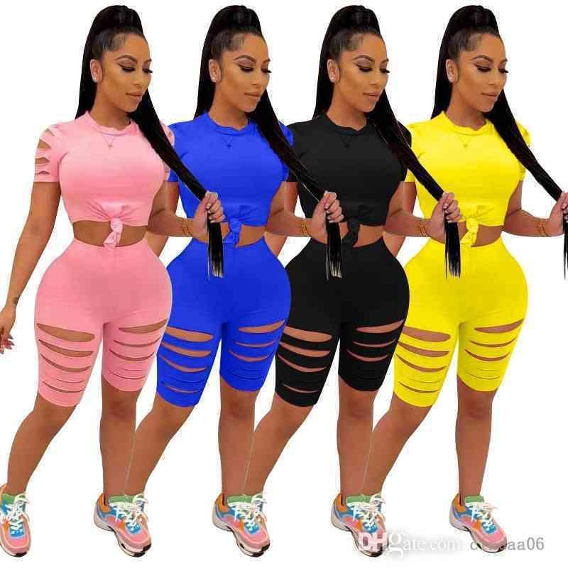 Seksi Kadın Eşofman Iki Parçalı Set Koşu Takım Elbise Yuvarlak Boyun Kıyafetler Katı Renk Eğlence Moda Yanmış Çiçek Delik Takım Elbise