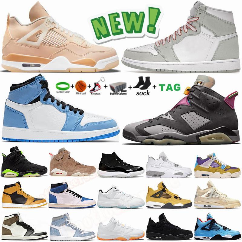 Erkek Basketbol Ayakkabıları 4 4s Beyaz Oreo Desert Moss Sail Black Cat Jumpman 1 1s Hyper Royal University Mavi 6 6s UNC 13s Flint 11 11s Bayan Trainer Spor Ayakkabıları