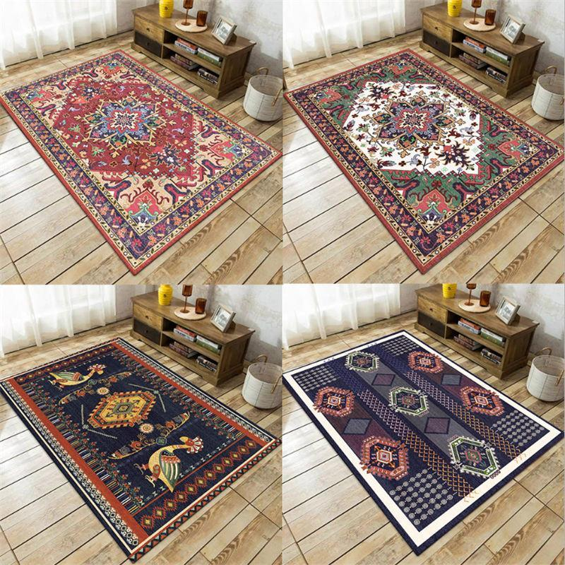 Carpets Rugs And For Home Living Room Vintage Bohemian Floral Pattern Thickened Carpet Children Rooms Hand Wash