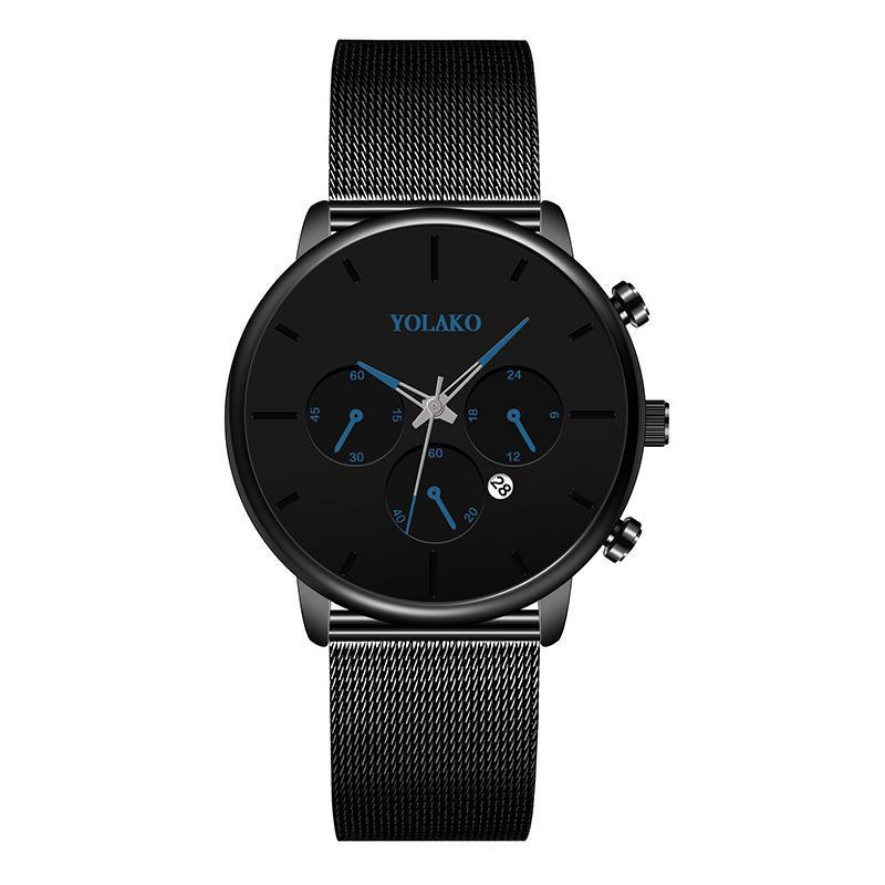 Herrenuhr Mode Edelstahl Mesh Gürtel Einfache casual wasserdichte Quarz Männer Business Sports YOLAKO Marke Armbanduhren