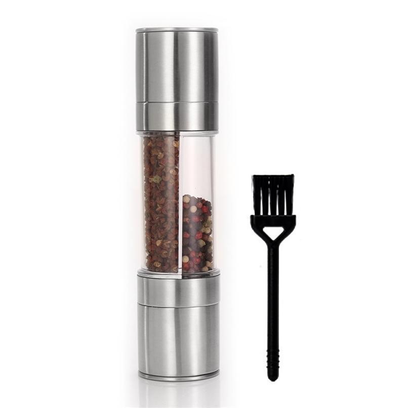 Molinillo de pimiento 2 en 1 con un cepillo, molino de sal de sal de acero inoxidable, molinillo de molino de condimento para restaurantes de cocina 210712