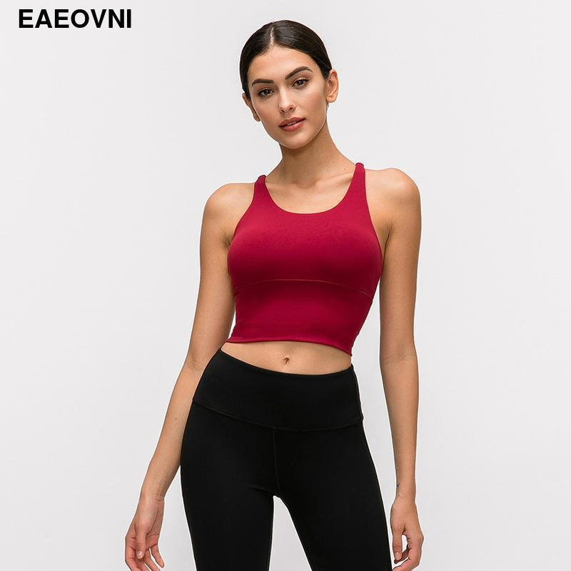 Yoga Outfits 2021 Short Sleeve Crop Tops Womens Back Crossing Workout Fitness Running Sport Bra Strappy GYM Training Women Clothing