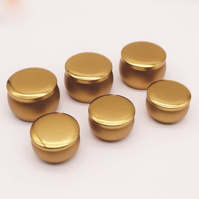 المعطرة شمعة الجرار الذهب والفضة فارغة جولة الصفيح يمكن diy اليدوية الشاي الغذاء الحلوى الجدول الملحقات تخزين مربع مع غطاء GGA5145