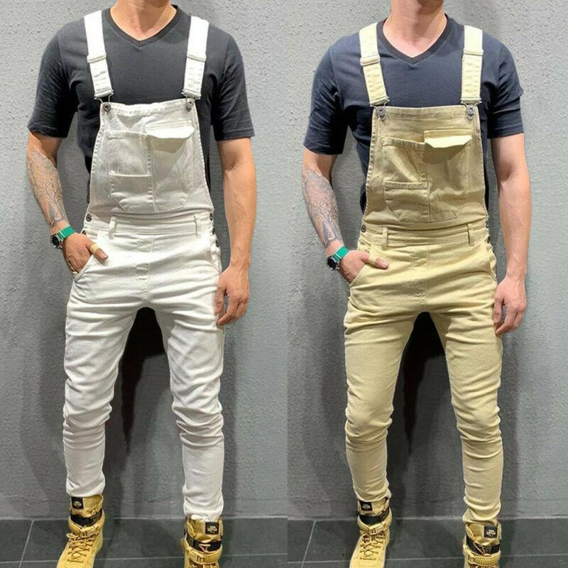 Erkek Jeans İNGILTERE Mens Streetwear Moda Denim Dungaree Önlüğü Tulum Tulumlar Moto Biker Pantolon Pantolon Hip Hop