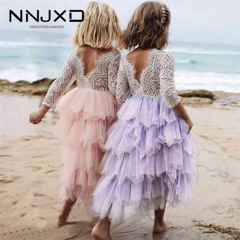 Sommer Spitze Mädchen Kleid Weiß Backless Mädchen Teenager-Prinzessin Kleid Unregelmäßiger Tutu 2-8 Jahre Rosa Kinder Kleider Rosa 210402