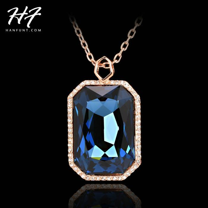 Top Quality Noble Style Big Crytal Rose Colonne Pendentif Collier Crystal Autriche N499 N500 N501 N502 Colliers